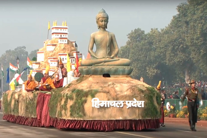 The tableau of Himachal Pradesh showcased at the Republic Day Parade 2018 at Rajpath, New Delhi. The theme of Himachal this year was Kyi Gompa