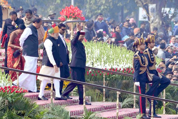 The President, Ram Nath Kovind, wearing the Himachali cap during the 69th Republic Day Parade 2018, at Rajpath, in New Delhi