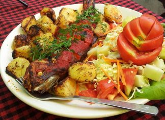 Fresh grilled trout fish from the Beas river in Manali, Himachal Pradesh